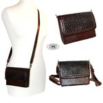 Mini handbag with adjustable shoulder strap in messenger bag brown calfskin relief style braided fla