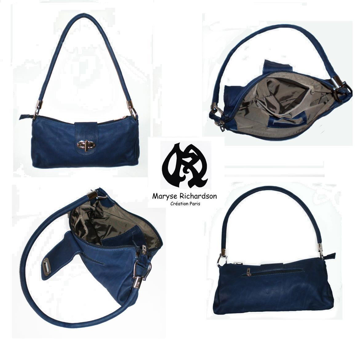 8242b39191 sac à main en cuir bleu marine rabat fantaisie - Maryse Richardson ...